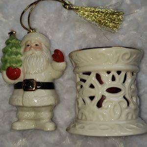 Christmas Lenox Santa and candleholder 🎅